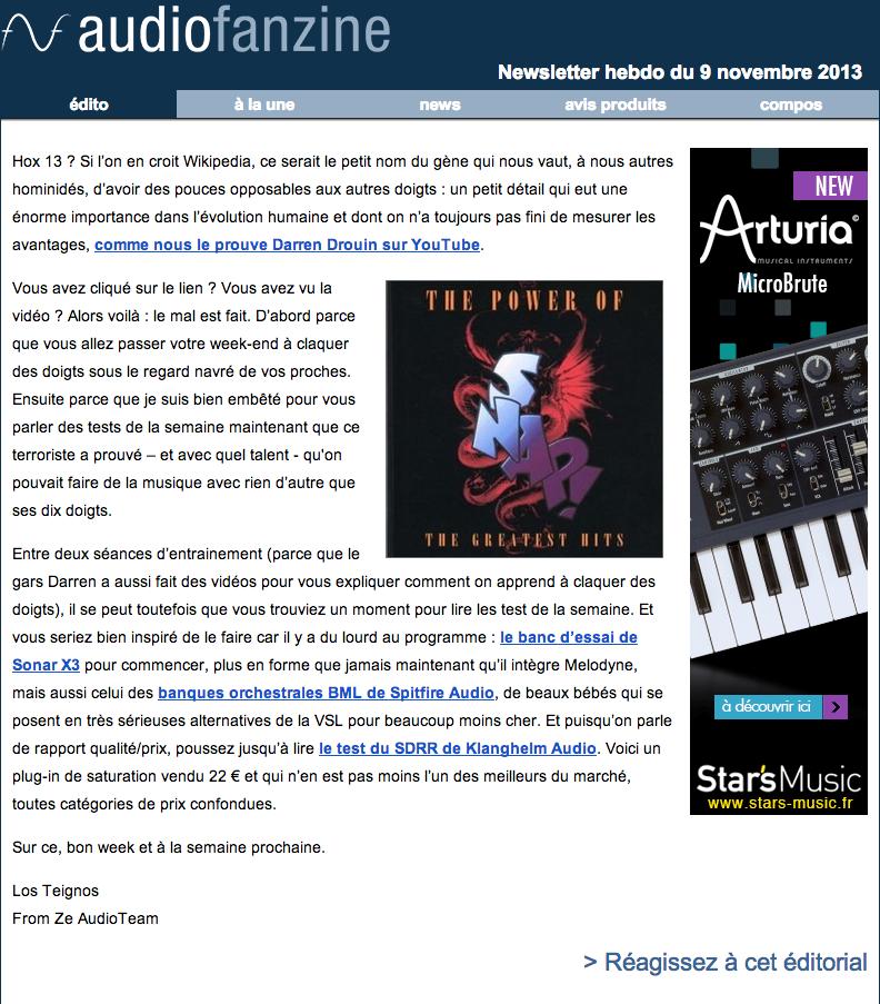 Newsletter sample Audiofanzine FR